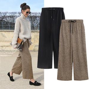 Pantalones plisados de lana de invierno Mujeres 2020 Cintura elástica Pantalones sueltos Mujeres para otoño negro ancho caqui