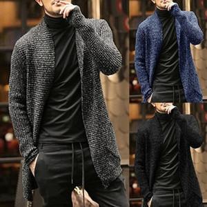 Вязаные свитера кардигана мужчин 2020 осень Mens Длинный свитер куртка Повседневный Slim Fit Тренч Трикотаж Свитера Топы Streetwear Gray