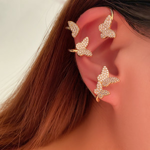 Pretty Diamond 3D Buffly Ear Polsino Astuccio Designer di lusso Designer Orecchini per donna Girls Box regalo d'oro