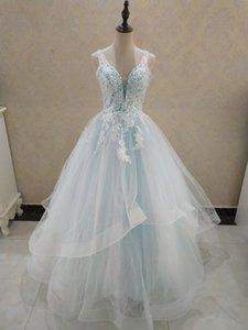 ZJ9204 Elegant A-Line V Neck Ruffles Tiered Boho Beach Champagne Wedding Dresses Deep Lace Appliques Gowns Custom