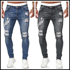 2020 New 5 cores dos homens rasgadas Calças Jeans Moda de Slim Denim Pencil transporte Rua Hipster vaqueiro Calças S-3XL Gota