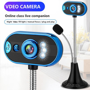 480p Computer Camera Home Office Microphone Free Drive USB Webcam With Mic Night Vision Webcam USB Interface 3.0 2.0