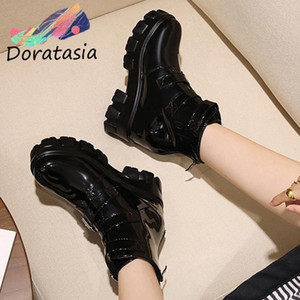 DORATASIA Women Platform Motocycle Chunky Shoes 2020 Designer Boots Women Classic Punk Buckle Black Ankle Boots