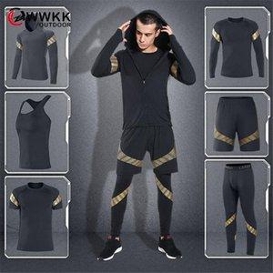New Hombres 6 piezas Set T Shirt + Chaleco + Abrigos con capucha + Cortas + Pantalones Masculino Yoga Masculino Seco Estilo Moda Hot Sportswear Fitness Thicksuit