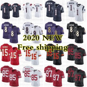 2020 new jerseys 1 Cam Newton 8 Lamar Jackson 15 Patrick Mahomes 85 George Kittle 97 Nick Bosa jersey