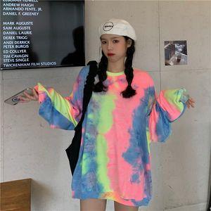 2021 New spring printed tie dye feminine hoodie chic ladies streetwear pullovers basic long sleeve tops y432 B8I0
