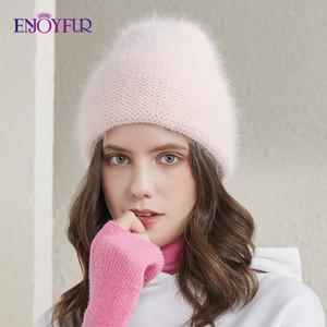 ENJOYFUR chapeaux d'hiver de femme angola fourrure menottées femme bonnet chaud couleur unie mode chapeau style jeune de ski bonnets