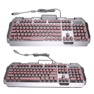 X10 Retro Round Typewriter Light Transmission Keycap Wired Mechanical Gaming Keyboard Multiple Light Effects1