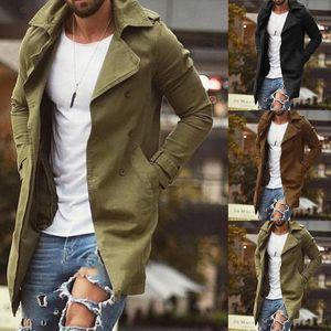 Hommes New Automne Trench Veste Slim Fit Plus Taille Noir Outwear d'affaires à long coupe-vent Pardessus Vestes coupe-vent