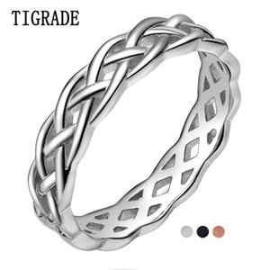 TIGRADE 4mm 925 Sterling Silver Ring Women Celtic Knot Eternity Wedding Band High Polish Classic Stackable Simple Rings Sale 201112
