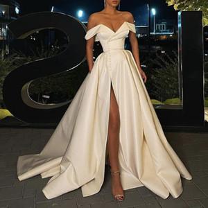 Robes de mariée élégantes 2021 Dernière épaule A-Line Robe de mariée Robe de mariée Robes de mariée Share Satin Satin Poches sans dos Split Split