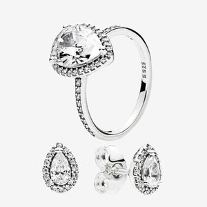 Authentic 925 Silver Teardrop RING and EARRING sets Original box for Pandora CZ diamond Women Wedding Jewelry tear drop Ring stud Earring