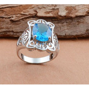 Hot sale S925 Silver Plated Men's Blessed Pattern Blue Crystal Ring European and American Hot Selling Ring Magic Ring