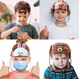 US Stock 20 Designs Children Safe Party Masks Kid Cartoon Face Shield Reusable Anti-fog Protective Mask Full Face Anti-splash Protection