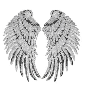 Fashion-1 Pairs Sequined Wings Patches for Clothing Iron on Transfer Applique Patch for Jacket Jeans DIY Sew on Embroidery Sequins