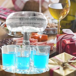 Support de distributeur de verre 6 coups avec 6 tasses coupées Buddy Wine Cocktail Remplissage rapide Tool Refroidisseur Boiserie Boire Boissons Boire Distributeur Barre Accessoires W92