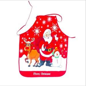 Grembiule di Natale Santa Claus Snowman Stampa Pinafore Regali di Natale Gifts Cartoon Vita Grembiuli Merry Christmas Atmosphere Decor HWC3142