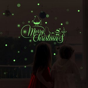 Merry Christmas Glow Snowman Wall Fluorescence Stickers Living Room Luminous Stickers Window Decor For Home Mall DHL Free Shipping GWD2042