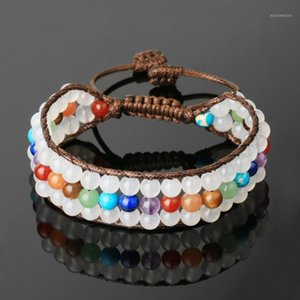 Vintage White Natural Stone Crystal Bracelets For Women Healing 7 Chakra Multilayer Brown Rope 6mm Round Beads Bracelets Jewelry1