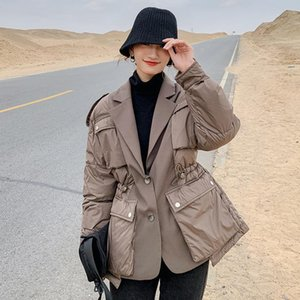 Autumn Winter 2020 Female Jacket Korean New Suit Stitching Fake Two-Piece Short Thick Warm Loose Casual Oversized Women Coat A87