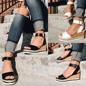 Retro Womens Sandalen Mode Fisch Mund Offene Zehen Knöchel Plattform Keile Schuhe Casual Damen Römische Sommer Sandalen T9 #