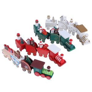 Wooden Train Ornament Santa Claus Xmas Festive Home Decor Kids Gift Christmas Pendant Party Supplies Drop Ornaments
