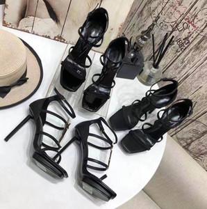 2021 новый европейский римский стиль женщин на высоком каблуке сандалии, металлические украшения, первый выбор для сексуальных женщин, из патентной кожи