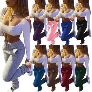 Damen Hosen Solid Color Heavy Sweater Stoff Sport-beiläufige Kordelzug Stapel Hosen mit Taschen Damenmode Leggings neuer Eintrag