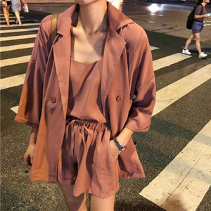 3 Piece Set Women Suits Long Sleeve Coats Elastic High Waist Drawstring Shorts Suit 2021 Summer Office Lady Korean Solid Set
