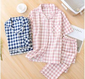Womens Men Couple pajamas sleepwear Plaid pajama set women cotton pyjamas Summer Loose pijamas women short Sleeve Plaid sleepwe1