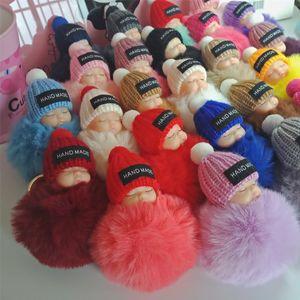 Rabbit Chain Baby Doll Keychain Holder Kids Fur Ball Carabiner Key Bag Toys Women Kids Cute Pompom Key Pendant Ring Sleeping Keyrin Enlru