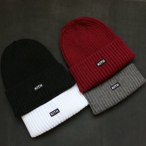KITH Embroidery Beanies Winter Hats For Women Ladies Men Brimless Docker Skull Cap Knitted Acrylic Cuffed Casual Skullies Outdoor Christmas