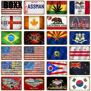 American Brazil Canada National Flag Wall Decoration Tin Sign Country Flag Metal Signs Home Decor Vintage Painting Plaque Poster