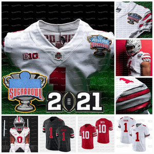 Ohio State Buckeyes 2021 Playoff National Championships Justin Fields Master Teague III Wilson Werner Wade NCAA College Football Jersey