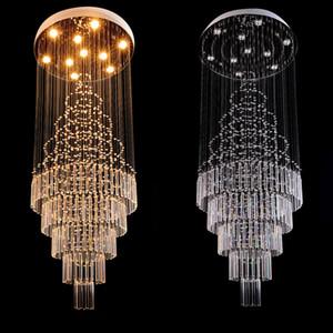 DHL cristal de haute qualité K9 Spiral Staircase Villa plafond Lampes LED de style moderne Pyramide couches lumières Penthouse Lustres Plafondlamp