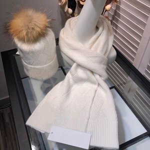 2020 new cotton knitting top quality white Hats with brown hair ball & Scarves Sets women winter comfortable warm Sets