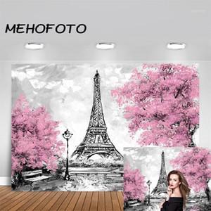 Mehofoto Fantezi Düğün Tema Eyfel Kulesi Fotoğrafçılığı Backdrop Pembe Çiçekler Ağaçlar Paris Arkaplan Fotoğraf Booth Studio Prop1