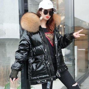 Winter Jacket Women Down Natural raccoon fur Collar Coat Loose Short White Duck Down Real Fur Coat Thick Warm Parka1