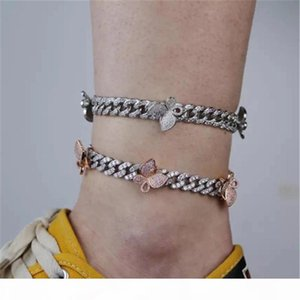 New Fashion Women Anklets 9mm 9inch Gold Plated CZ Butterfly Cuban Anklets Bracelet Chains for Girls Women Hot Gift