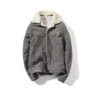 E-Baihui chaqueta 2020 invierno ropa de trabajo de algodón larga de algodón acolchado, blanca japonesa fina con capucha del bolsillo de la cintura de un solo pecho chaqueta AJ006