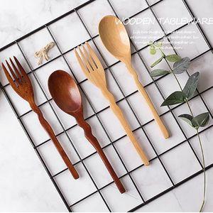 100set lot Natural Wooden Spoon and Fork Set Kitchen Cutlery Salad Fruit Tableware Handmade Fork Spoon Set For children