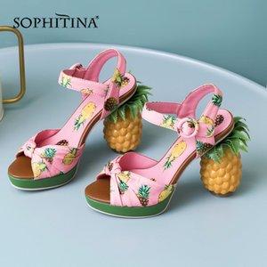 SOPHITINA nuovi sandali donne Novel Stampa Ananas Strano Heel scarpe cinghia Super High fibbia dolce delle donne aperte dei sandali della punta MO455 0928