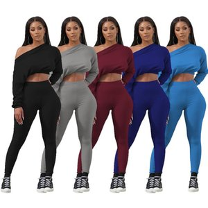 67W8342 Autumn Winter Women Casual Fashion Outdoor Home Navel Sports One Shoulder Two Piece Set Tracksuit Sweatsuit Outfits