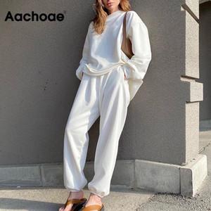Aachoae Casual Solid 2 Piece Set Mulheres Batwing manga comprida suéter cintura elástica Corpo Inteiro Calças retas Set Senhora