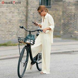 Elegante mujer traje suelta manga larga camisa plisada diseño temperamental diseño blusa camisa ancho pierna colgante pantalones casual alta cintura Q0112
