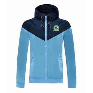 2020 Blackburn Rovers FC adult hooded windbreaker jacket winter windproof zipper Quick Dry hoodies sportswear soccer jacket Running Jackets