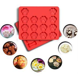 Dog Footprint Pudding Silicone Mold Chocolate Fondant Cake Decorating Tools Soap Jello Resin Silicon Molds