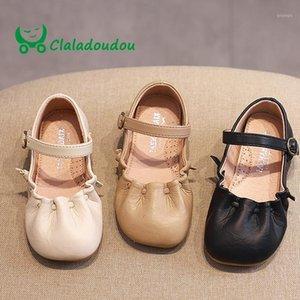 Claladoudou 14-16cm marca 2019 primavera de couro genuíno littler meninas puro festa vestido sapatos preto criança meninas antiderrapante flats1