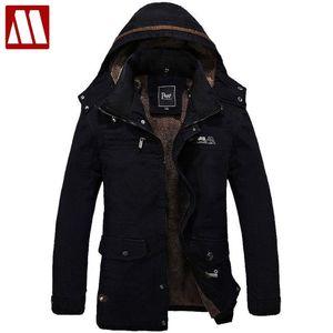 Men's Fur Lined Jacket Thick Long Warm Winter Fit Hooded Coat Overcoat men winter jackets mens cotton coats outwear Asia size