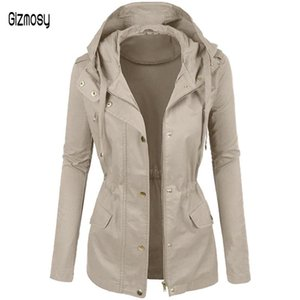 2020 Autumn Winter New Women Fashion Solid Color Hooded Slim Jacket Button Zipper Long Mountaineering Suit Plus Size CA6509